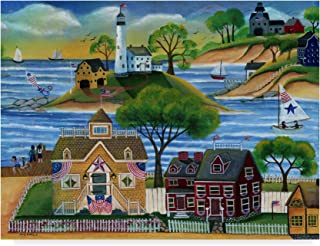 Trademark Fine Art Americana Seaside Lighthouse by Cheryl Bartley, 14x19-Inch Fine Art, Multicolor