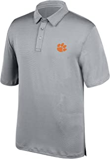 J America NCAA Men's Clemson Tigers Yarn Dye Striped Team Polo Shirt, X-Large, Cement