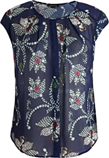 Chicwe Women's Plus Size Floral Print Top Blouse with Neck Pleats 1X-4X