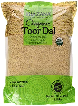 Khazana Organic Toor Dal Split Pigeon Peas 112oz/7lbs