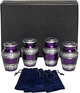 Eternal Harmony Keepsake Urns for Human Ashes | 4 Cremation Urns Carefully Handcrafted with Elegant Finishes to Honor Your Loved One | Each Small Urn Comes in a Beautiful Velvet Bag (Purple)