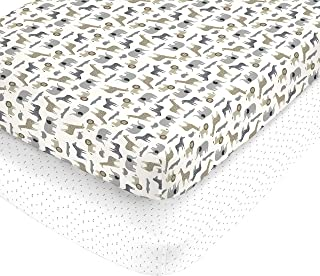 Carter's 100% Cotton Sateen 2 Piece Fitted Crib Sheets Multi Safari and White with Grey Triangles, Tan/Grey/White