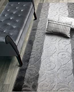 Custom Size Hallway Runner Rug, Slip Resistant, 26 Inch Wide x Your Choice of Length Size, Scroll Anthracite, 26 Inch X 15 Feet, Sold and Priced Per Foot