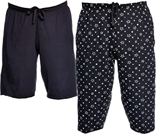 VIMAL JONNEY Cotton Blended Printed Shorts for Men (Pack of 2)-D11BLK_D12PRTBLK-P
