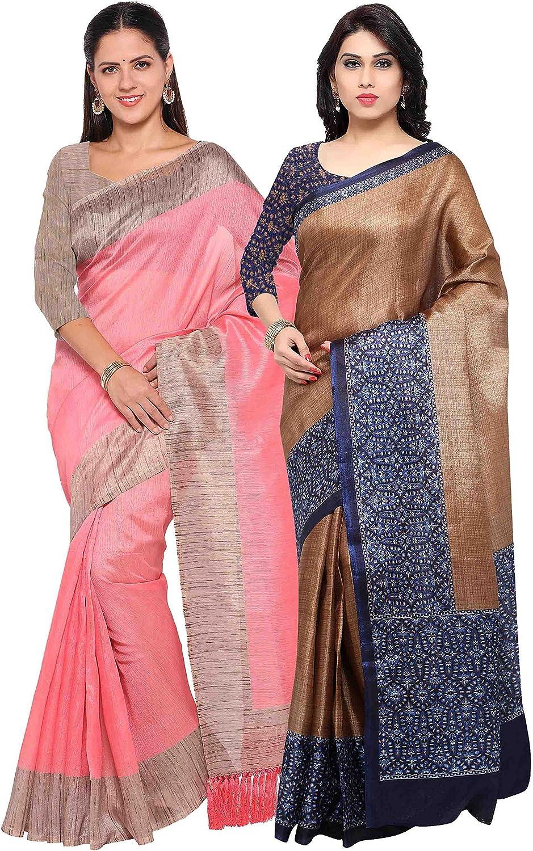 Rajnandini Women's Tussar Silk Printed Saree(JOPLNB3006F6001B_Combo Of 2)