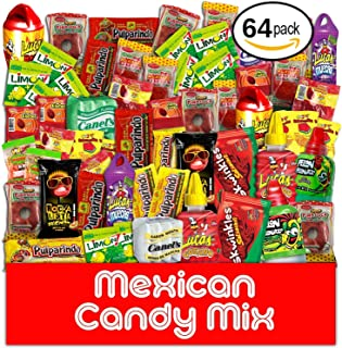 Mexican Candy Assortment Snacks (64 Count), Variety Of Spicy Bulk Candies Dulces Mexicanos