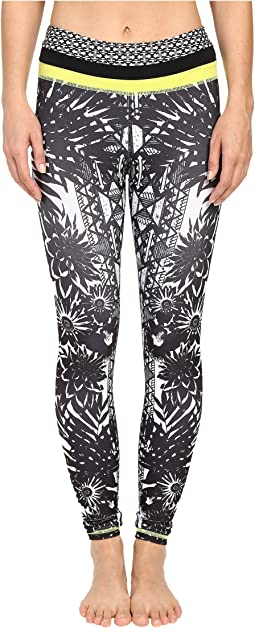 Floral Burst Locate Printed Leggings with Contrast Band