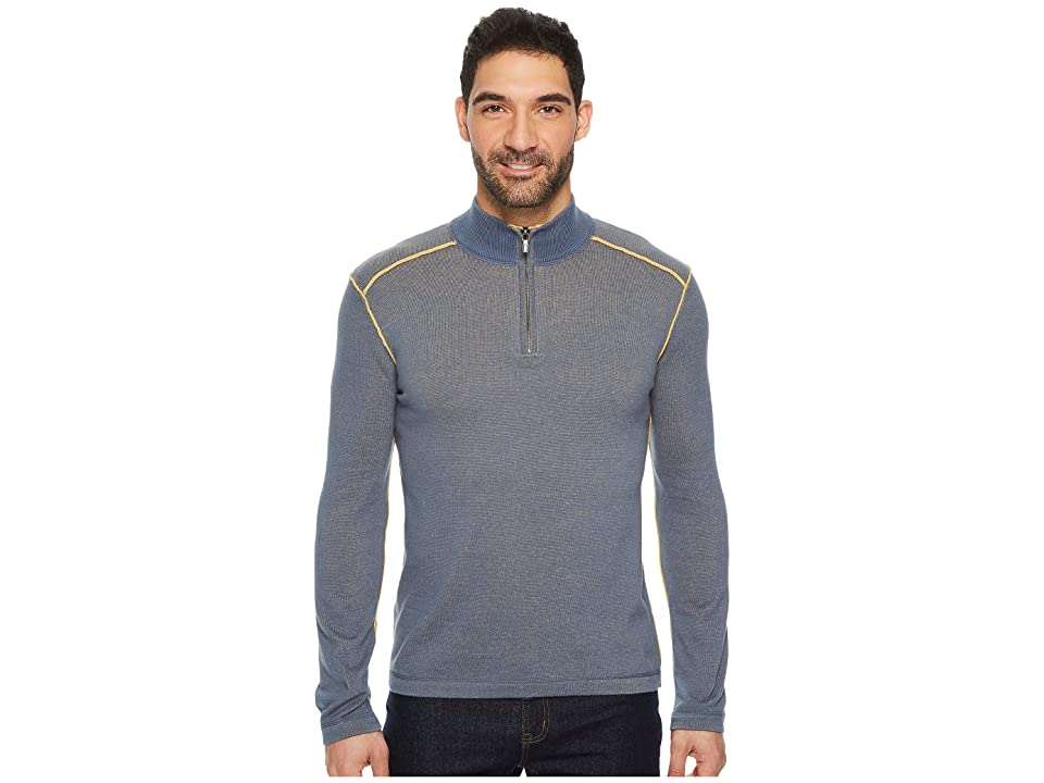 Ecoths Noah Zip Neck Sweater (Vintage Indigo) Men