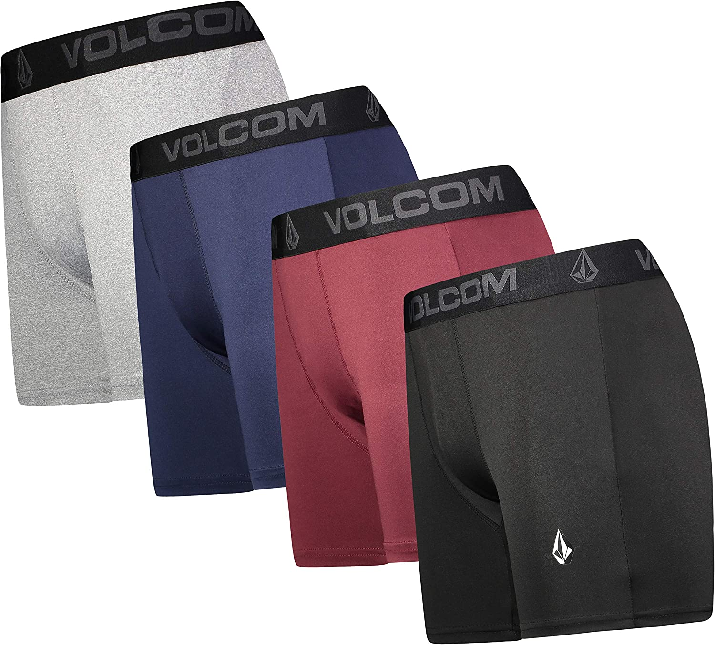 Volcom Mens Boxer Briefs 4 Pack Poly Spandex Performance Boxer Briefs Underwear