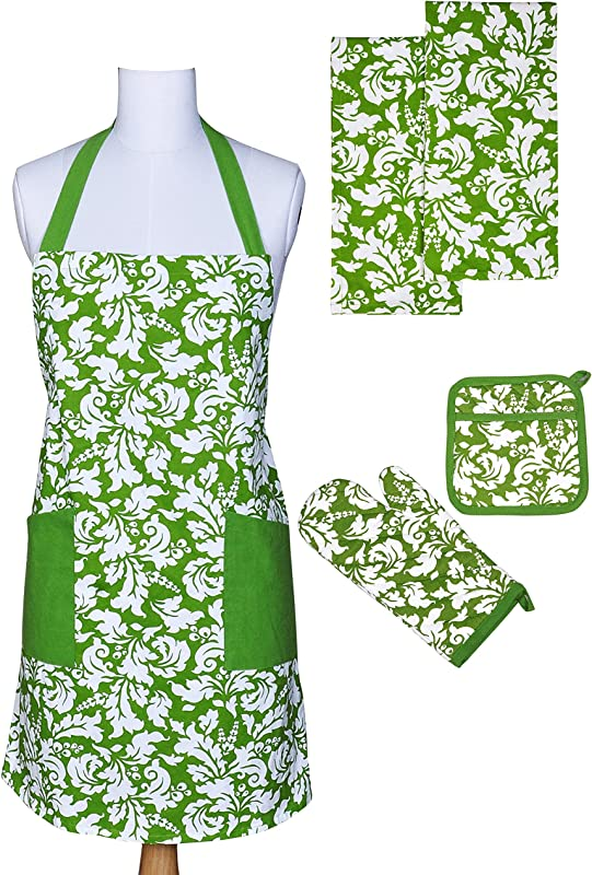 Yourtablecloth Kitchen Gift Set 1 Kitchen Apron An Oven Mitt A Pot Holder 2 Kitchen Dish Towels Or Tea Towels Ideal Cooking Gifts Or Gift Ideas For Chefs Suitable For Men Women Apple Green