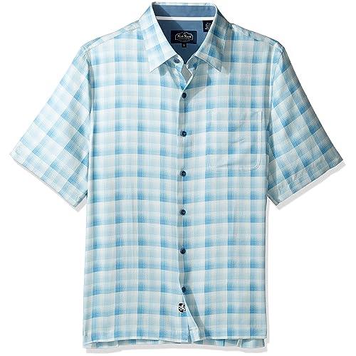 b6768d1785a2e9 Nat Nast Men s Plaid Print Traditional Fit Silk Blend Shirt