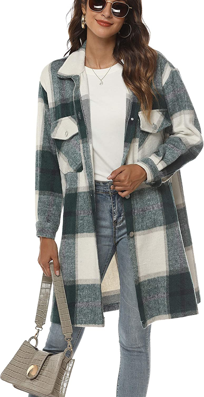 Tanming Women's Casual Plaid Shacket Lapel Button Up Wool Brushed Midi Jacket Coat