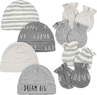 Baby Boys' 8-Piece Organic Cap and Mitten-Set