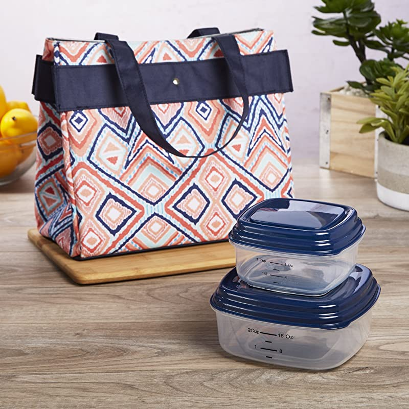 Fit Fresh Danville Lunch Kit For Women With BPA Free Food Containers Navy Abstract Ikat