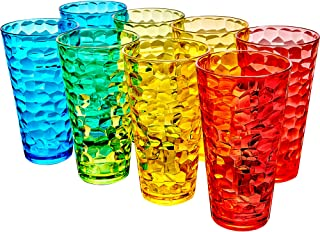 Amazing Abby Iceberg - 24-Ounce Plastic Tumblers (Set of 8), Plastic Drinking Glasses, Mixed-Color High-Balls, BPA-Free, S...