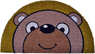 Imports Décor Half Round Bear Vinyl Backed Coir Doormat, 30 by 18 by 1/2-Inch
