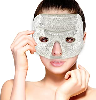 Hot and Cold Therapy Gel Bead Facial Eye Mask by FOMI Care   Ice Mask for Migraine Headache, Stress Relief   Reduces Eyes Puffiness, Dark Circles   Fabric Back   Freezable, Microwavable (Gray)