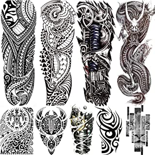 Rejaski 9 Sheets Long Large Black Full Sleeve Temporary Tattoos For Men Women Tribal Maori Dragon Lion Tatoos Realistic Me...