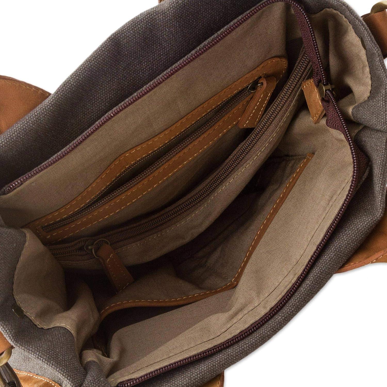 NOVICA Brown Cotton and Leather Accent Handle Handbag, Brown Mushroom'