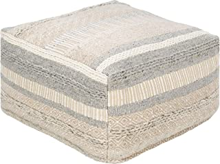 "Bancroft 24"" x 24"" x 13"" Cube Bohemian/Global 65% Cotton/27% Wool/8% Viscose/100% Polybeads/100% Cotton Medium Gray/Ivory/Beige Pouf"