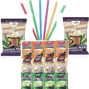 DeDe Instant Boba Tea Kit 12 Drink Packets Straws & Boba Thai Tea, Milk Tea & Green Tea Latte in Fusion Select Gift Box