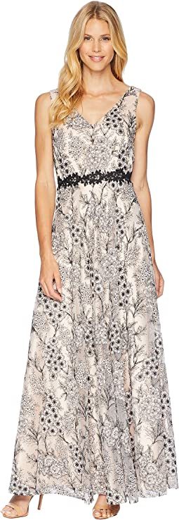 Tahari by ASL Novelty Embroidery Sleeveless A-Line Gown