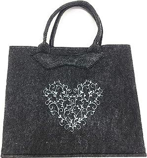 Filztasche grau mit grau gesticktem Herz 38x30x20 cm Trachtentasche
