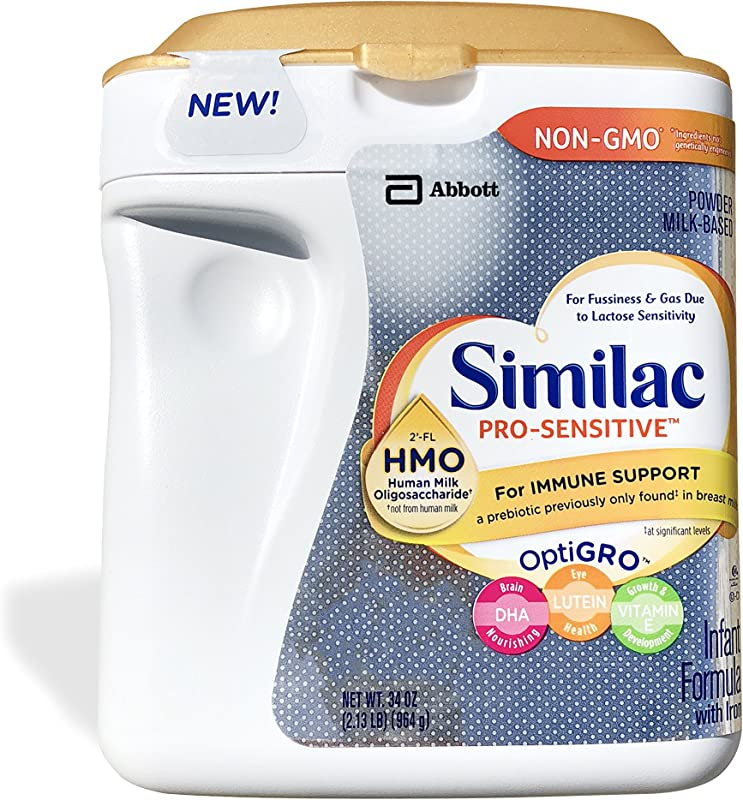 Similac Abbott Pro Sensitive Non GMO Powder Infant Formula With Iron With 2 FL HMO For Immune Support 34 Oz Various Packs Available 3 Pack