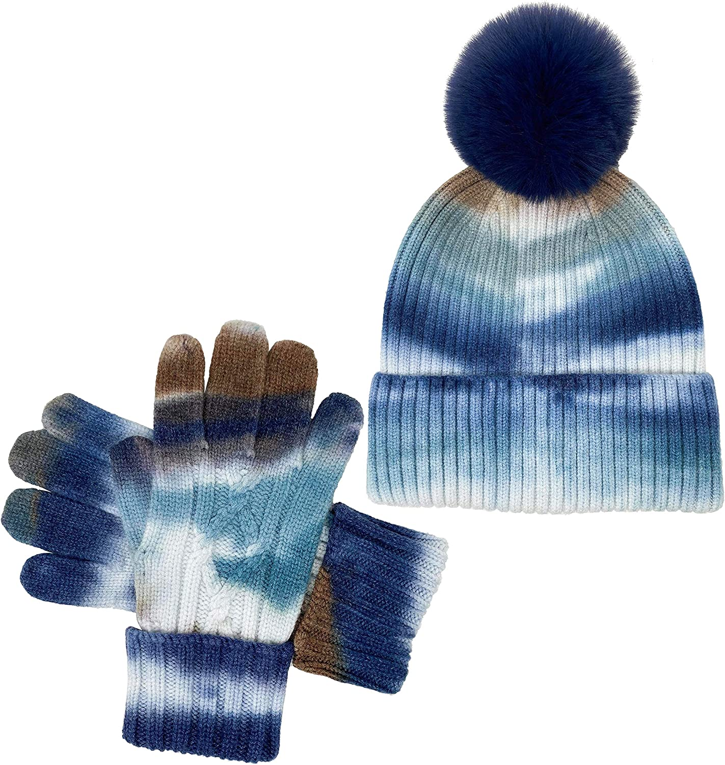 Funky Junque Exclusives Tie Dye Pom Beanie Hat Set with Matching Gloves