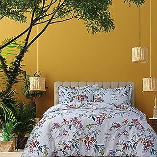 AZORES HOME Estella 300 Thread Count Organic Cotton Oversized Duvet Set King, Multicolor, ESTELORGDUVKI