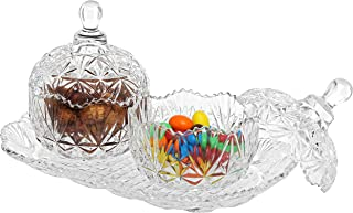 MyGift 3-Piece Clear Glass Crystal Design 8 oz Sugar Bowls Set & Tray/Decorative Candy Dishes