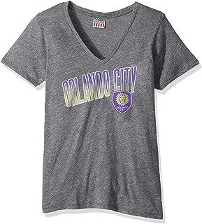 Junk Food MLS Orlando City Women's Short Sleeve V-Neck Top, Medium, Steel