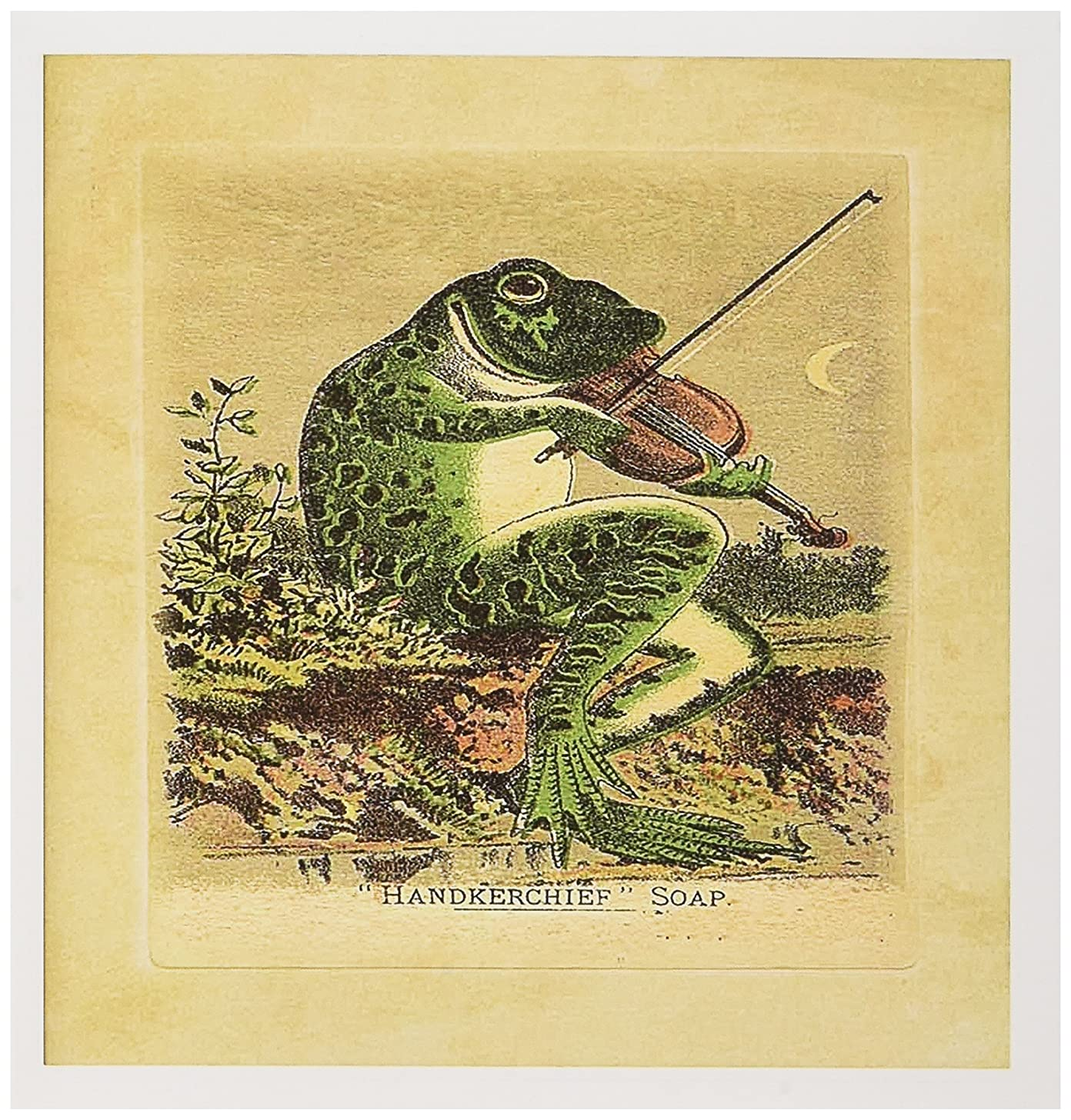 3dRose Print of Frog Plays Violin on Soap Ad Greeting Cards, Set of 6 (gc_194991_1)