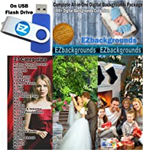 EZbackgrounds' Complete All-In-One Digital Backgrounds Package on USB Flash Drive Memory Stick for Professional Photographers and Hobbyists
