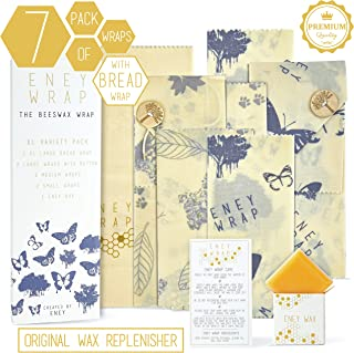 ENEY Premium Organic Beeswax Food Wrap | Set Of 7 Eco-Friendly Reusable Wraps | No Synthetic Wax or Chemicals | Includes 1 XL Bread Wrap, 2 Large, 2 Medium, 2 Small and Original Wax Replenisher