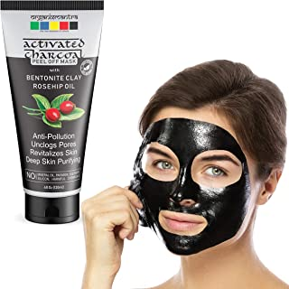 Organix Mantra Activated Charcoal Peel Off Mask 120ml, Deep Cleansing Mask, Deep Pore Cleanse for Acne, Oil Control, and Anti-Aging Wrinkle Reduction with Bentonite Clay, Rosehip Oil