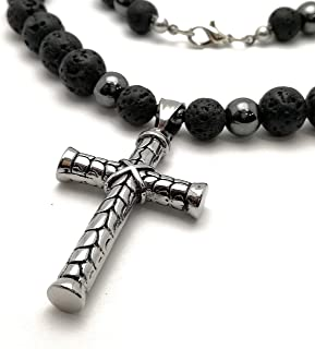 Collana da uomo perle di lava 10mm ematite 8mm pietra semipreziosa pendente croce acciaio inossidabile 316L Rocker Biker C...