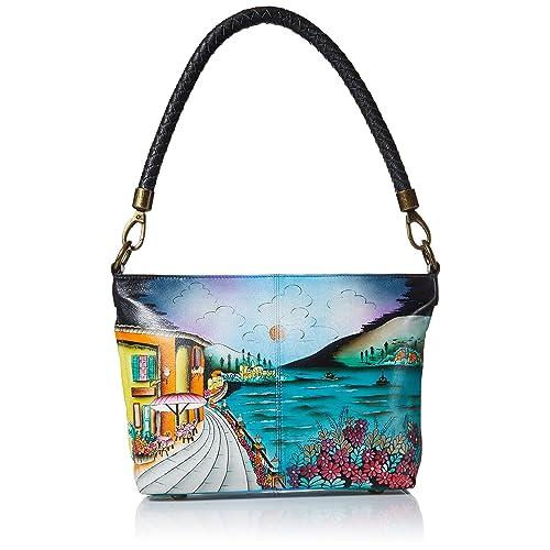 Anna by Anuschka Women s Genuine Leather Large Hobo Shoulder Bag  Hand  Painted Original Artwork 5ccf47676a