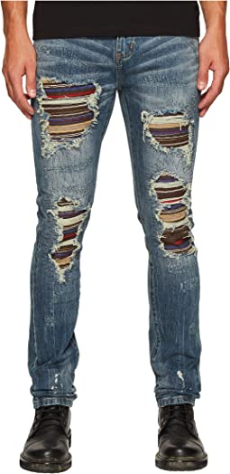 God's Masterful Children - Sotto Copertura Stripe Jeans in Blue