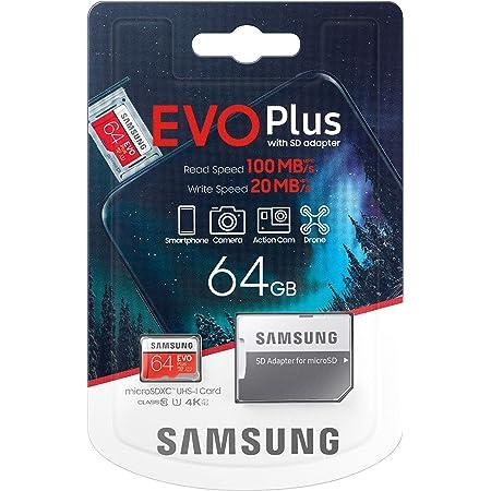 Samsung Evo Plus microSD SDXC Class 10 memory card New (2020) Model upto 100MB/S Full HD & 4K UHD with Adapter (64GB)