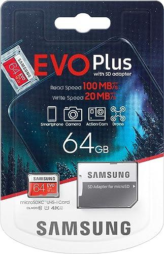 Carte mémoire Samsung Evo Plus 64 Go microSD SDXC Classe 10 (2020) modèle jusqu'à 100 Mo/S Full HD et 4K UHD avec Ada...