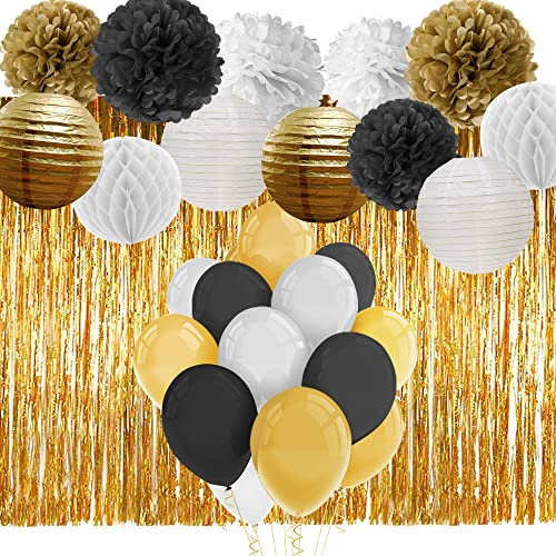 Paxcoo Black And Gold Party Decorations With Balloons Paper Pom Poms Lanterns Fringe Curtain For