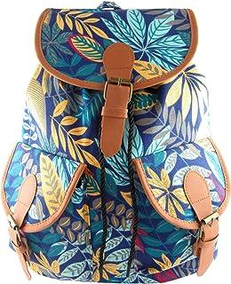 Mochila de Lona Estampada y PU Cuero con Dos Bolsillos Delanteros. Mochila Hippie y Casual. Bolsa de Viaje. Medidas: 37x30x13cm (Azul Floral)