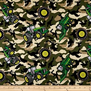 Springs Creative Products Green John Deere Everyday Cotton Camo Tractor Toss Fabric by The Yard