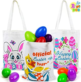 3 Pcs Easter Cotton Tote Bags Easter Reusable Canvas Grocery Bags for Easter Eggs Hunt, Easter Basket, Easter Party Gift G...