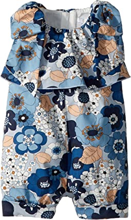 Chloe Kids - Poplin Flower Print Knot On Shoulders Romper (Infant)