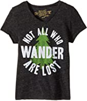 The Original Retro Brand Kids - Not All Who Wander Are Lost Short Sleeve Tri-Blend V-Neck Tee (Big Kids)
