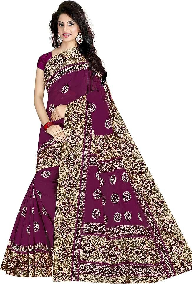 Indian TAMAIRA FASHION Women's Plain Weave Pure Cotton Saree Without Blouse Piece (AB23_Parent) Saree