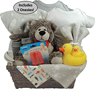 swaddling socks and more. Unisex Baby Gift Basket with Bear: Set of 2 Cotton Tagless Onesie Blanket Fleece Blanket and a Receiving Rubber Ducky Set