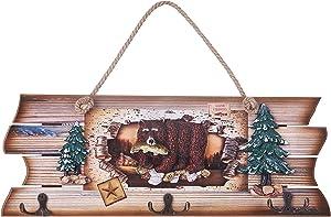 Aumei Wall Decor Deko-Schild mit Bären- und Fisch-Welcome-Aufhänger, aus Holz, mit 3 Haken, für Garten und Wanddekoration